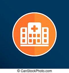 bâtiment, hôpital, isolé, croix, humain, icône, monde médical, vue