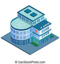 bâtiment, hôpital, isométrique