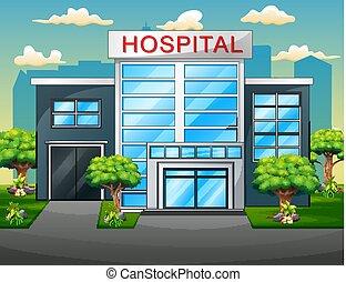 bâtiment, hôpital, moderne, clinique, vue extérieure