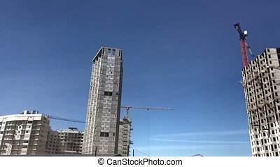 bâtiment, haut-ascension, résidentiel, bâtiments., processus