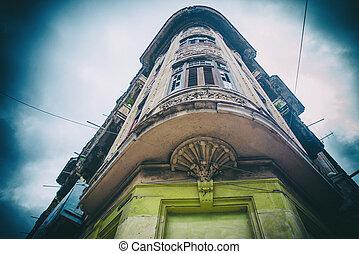 bâtiment, havane, vieux, détail