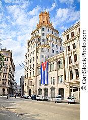 bâtiment, historique, centre, havane,  etecsa