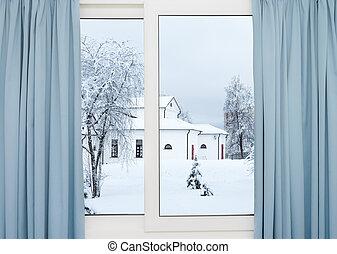 bâtiment, hiver fenêtre, vue