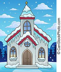 bâtiment, hiver, image, thème, 2, église