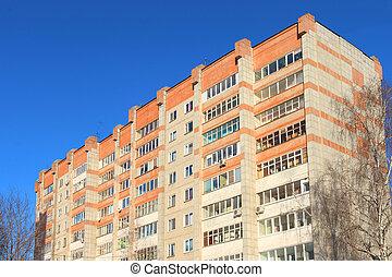 bâtiment, hiver, résidentiel, sommet, ensoleillé, balcons, arbres, élevé, jour