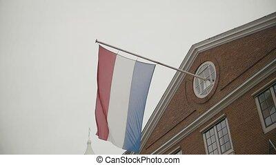 bâtiment, hollande, pays-bas, voler, drapeau, ralenti, amsterdam