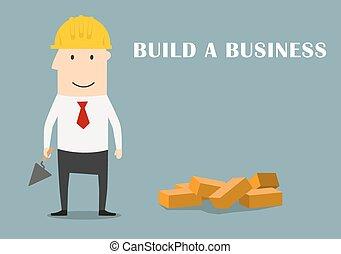 bâtiment, homme affaires, business, nouveau