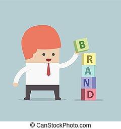 bâtiment, homme affaires, marque, mot