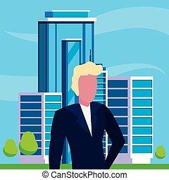 bâtiment, homme affaires, urbain