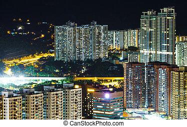 bâtiment, hong, appartement, kong, nuit