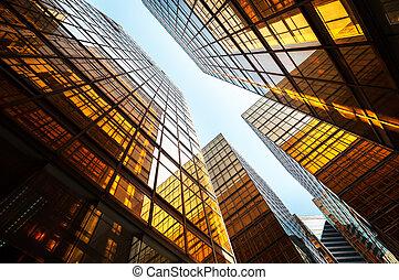 bâtiment, hong, bureau, kong, réflecteur, extérieur