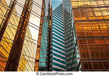 bâtiment, hong, bureau, reflété, kong, extérieur