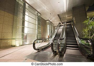bâtiment, hong kong, escalators, nuit