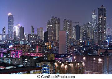 bâtiment, hong kong, nuit