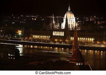 bâtiment, hongrie, parlement, budapest, nuit