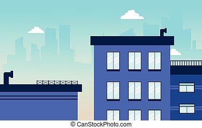 bâtiment, horizon ville, vecteur, illustration
