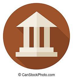 bâtiment, icône, cercle, ombre, plat, long, école