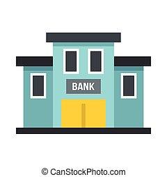 bâtiment, icône, style, banque, plat