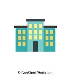 bâtiment, icône, style, plat