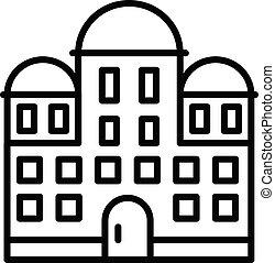 bâtiment, icône, style, temple, contour