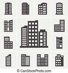bâtiment, icônes