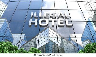bâtiment, illégal, temps, nuage, défaillance, hôtel