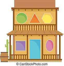 bâtiment, illustration, forme, ouest, vieux