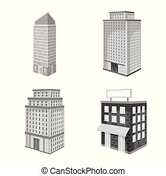 bâtiment, illustration., moderne, collection, vecteur, conception, realty, icon., stockage