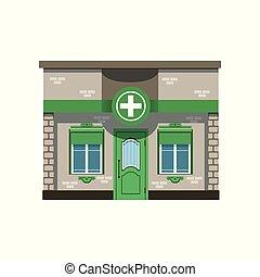 bâtiment, illustration, pharmacie, vecteur, façade, pharmacie