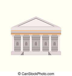 bâtiment, illustration, traditionnel, romain, vecteur, fond, façade, blanc