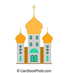 bâtiment, illustration., vecteur, architecture, église, icon.