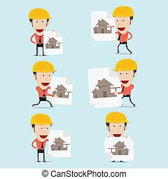 bâtiment, illustration, vecteur, maison, dessin animé, charactor, ingénieur