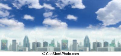 bâtiment, image, ciel, brouillé