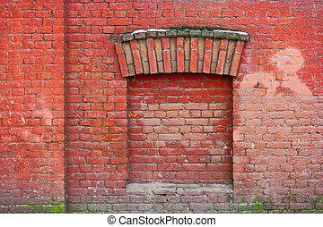 bâtiment, immured, vieux, décoration, voûte fenêtre
