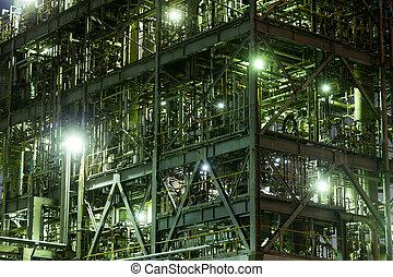 bâtiment, industriel, aciérie, nuit