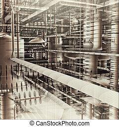 bâtiment, industriel, canaux transmission, système, ventilation, intérieur