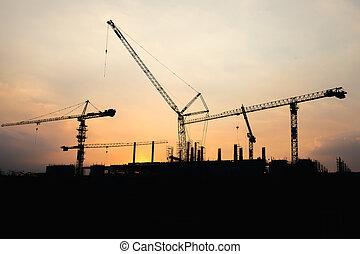 bâtiment, industriel, chantier, construction, coucher soleil, temps, grue