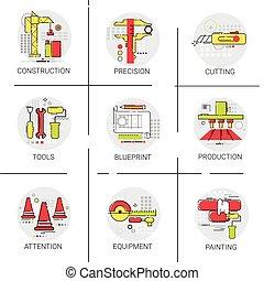 bâtiment, industriel, ensemble, projet, construction, boîte outils, rénovation, icône