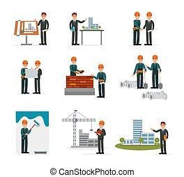 bâtiment, industriel, fonctionnement, constructeurs, blanc, équipement, ingénierie, vecteur, fond, illustrations, construction, outils, ser, ouvriers