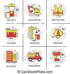 bâtiment, industriel, projet, ingénierie, ensemble, construction, boîte outils, icône