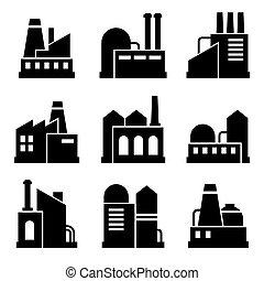 bâtiment, industriel, puissance, set., usine, vecteur, icône