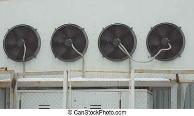 bâtiment, industriel, system., air, grand, mur, ventilateurs...