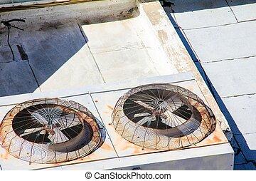 bâtiment, industriel, vieux, système, toit, ventilation