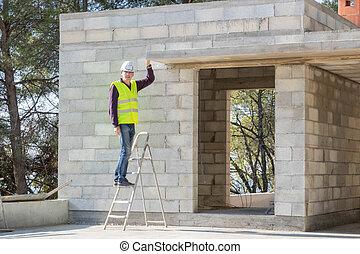 bâtiment, ingénierie, site, construction, commercer, directeur, construction