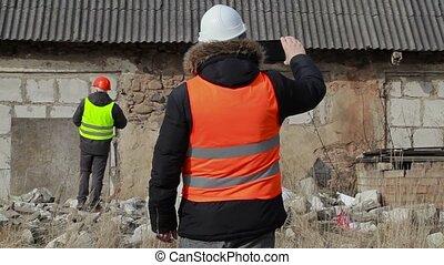 bâtiment, inspecteurs, pc tablette