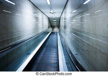 bâtiment, intérieur, moderne, escalator