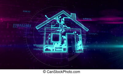 bâtiment, intelligent, concept, -, iot