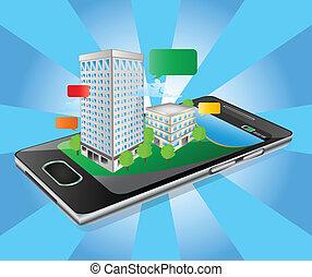 bâtiment, iphone