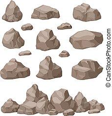 bâtiment, isométrique, art, set., pierre roche, galets, isolé, granit, jeu, vecteur, tas, naturel, dessin animé, stones., materials., bloc, 3d