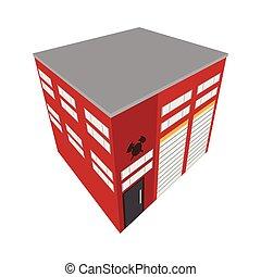 bâtiment, isométrique, brûler, isolé, station, icône